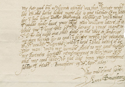 A letter from Anne Broughton original document