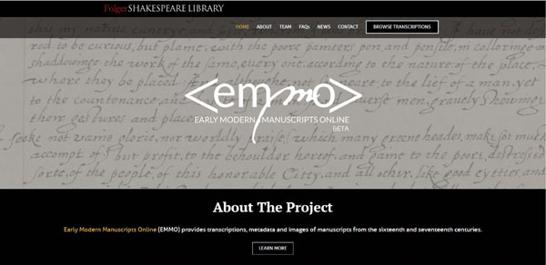 EMMO – Early Modern Manuscripts Online website