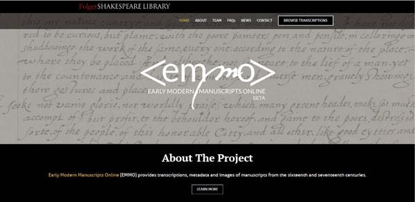 EMMO – Early Modern Manuscripts Online website