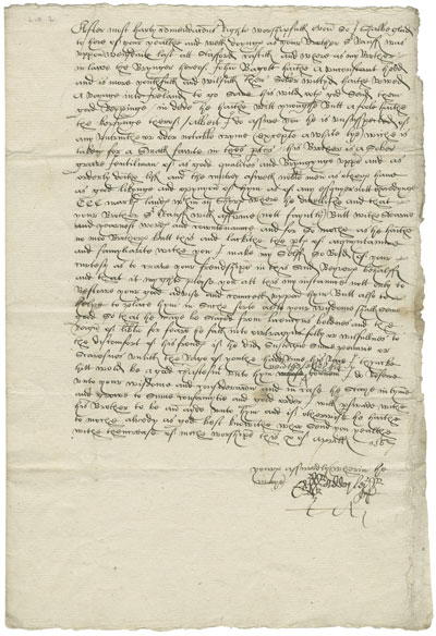 A transcribed letter from Ralph Adderly