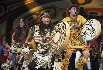 Git Hoan dancers, led by Tsimshian, Laxsgiik tribal member David A. Boxley, participate in Celebration 2016.