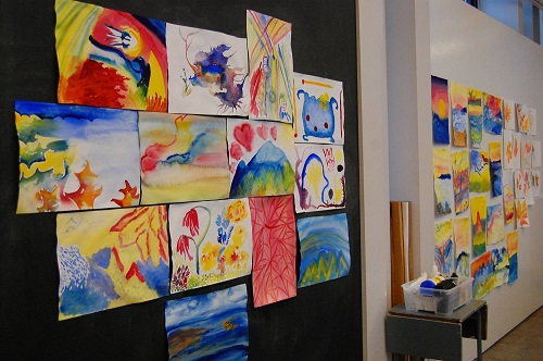 A display of works of art created by participants
