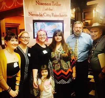 At the Sept. 2015 Ribbon Cutting Ceremony, Librarians Josie Andrews, Laura Pappani, Vaile Fujikawa, Shelly Covert, Greg Lucas, and Richard Johnson – Nevada City Rancheria Tribal Chairman.