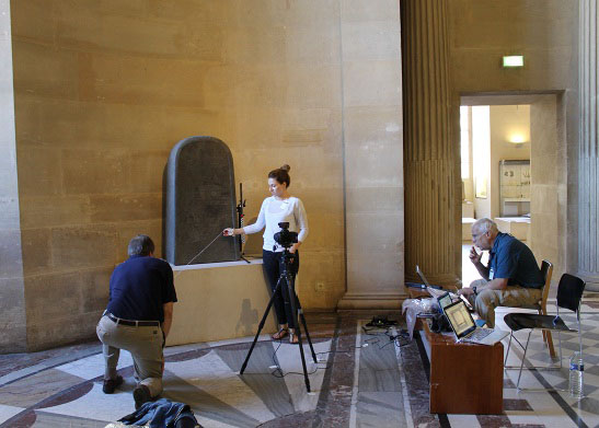 Pyu Inscriptions in Myanmar shown in a conventional, static image versus RTI (l-r) / Uriyahu Inscription shown in a conventional static image versus RTI (l-r) / Kyle McCarter and Heather Parker photographing the Mesha Stele at the Louvre Museum, assisted by Bruce Zuckerman, June 2015 / Palmyrene Project: Nathaniel Green is using a large flash for RTI capture