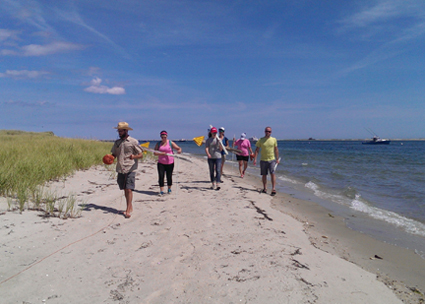 Members of the live blueTM Service Corps scan the beach during a project on Tern Island, near Chatham, Massachusetts.