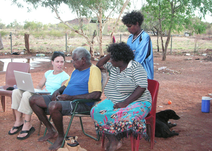 Dr. Kimberly Christen consults with Michael Jampin Jones, an elder from the Warumungu Aboriginal community in Tennant Creek, Australia, who initiated the original project and named the archive Mukurtu. Photo Credit: Patricia Narrurlu Frank