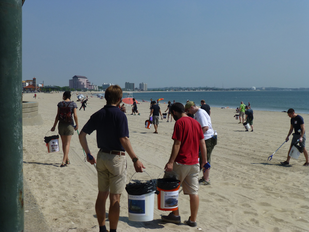 Members of the live blueTM Service Corps participate in a clean-up at Revere Beach.