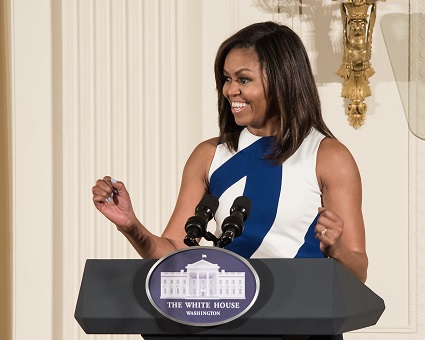 First Lady Michelle Obama delivers remarks at the 2016 National Medal ceremony.