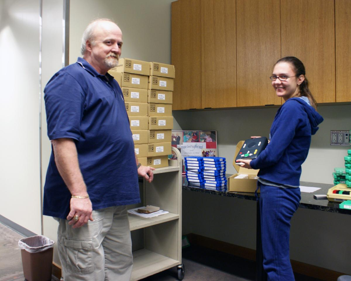 a Library for the Blind staff member and volunteer