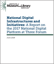 Cover of National Digital Infrastructures and Initiatives: A Report on the 2017 National Digital Platform at Three Forum